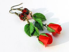 Earrings Red Rose on a chain Handmade of polymer clay Jewelry flowers Earrings Romantic accessory Jewelry roses Red earrings Gift for girl