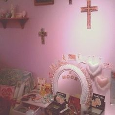Crosses on pink