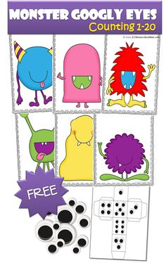 Kids will love practicing their numbers and counting 1-20 with theis adorable Monster Googly Eyes printable game. :: www.thriftyhomeschoolers.com
