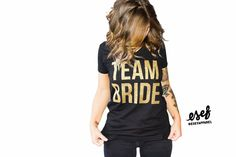 Team Bride V Neck Shirts - black and gold - Bachelorette Party Shirt