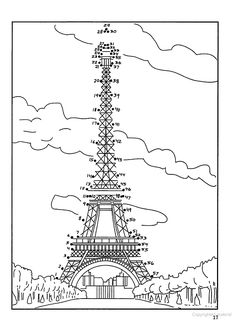 Eiffle tower dot to dot for Madeline five in a row