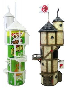 Recycle Reuse Renew Mother Earth Projects: Recycled Pringles can Fairy Houses