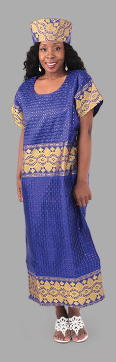 George Fabric Dress & Jacket Set - Delve into a new realm of elegance and attention-getting African style with this three-piece dress set. Comes complete with sleeveless sundress, duster and crown (with velcro clasp).  Beautiful African dress with gold patterns.  Celebrate Black History Month with this bold African style dress.  #fashion #style #stylish #womensfashion #womensstyle #african #africa #africanpattern #gold