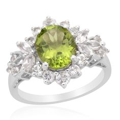 Liquidation Channel | Hebei Peridot and White Topaz Ring in Platinum Overlay Sterling Silver (Nickel Free)