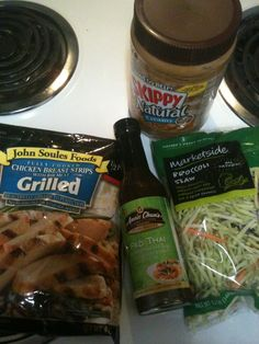 My new favorite meal! Healthy Pad Thai made with Broccoli slaw instead of rice noodles, hormone free precooked chicken, Aunt Chun's Pad Thai sauce, and Skippy's Natural Cream Peanut Butter! About 300 calories per serving!! Very filling! Simply sautée the broccoli slaw and chicken until slaw is tender and bright green and the chicken is hot, then add 1/3 to half the bottle of Pad Thai sauce depending on your taste preference, and mix in 1 1/2 tablespoons of natural creamy peanut butter. And Serve