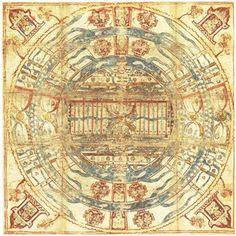 Jain cosmological mandala as a plan of Jambudvipa, Gujarat, Western India, 19th century. Gouache on cloth. Museum no. Circ.91-1970