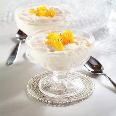 Appelsiiniriisi on perinteinen jälkiruoka, johon voi hyödyntää yli jääneen riisipuuron.