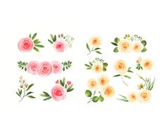 Roses bundle Floral Clip Art Watercolor by AnnelyBlooms on Etsy