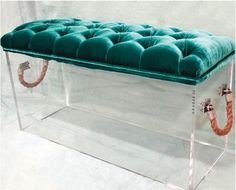Get the Look: A Shopping Guide to Velvet Furniture, Home Accessories, Velvet and Lucite Bench. Lucite Furniture, Velvet Furniture, Acrylic Furniture, Painted Furniture, Bedroom Couch, Bedroom Furniture, Home Furniture, Furniture Design, Furniture Storage