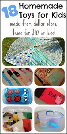 18 Homemade toys for kids made from dollar store items for $10 or less.  They make perfect gifts!  from And Next Comes L