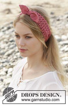 Melinda / DROPS 190-7 - Virkat hårband med hålmönster. Arbetet är virkat i DROPS BabyMerino