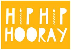 Hip Hip Hooray Card from YOKE, hooray, candle, yoke, stationary, card, print, yellow, hip hip hooray