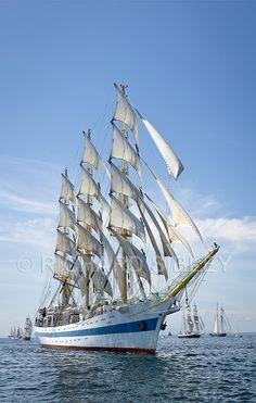 """Russian Tall Ship """"Mir"""" at Hanse Sail Rostock (c) Richard Sibley Hanse Sail, Old Sailing Ships, Nautical Art, Yacht Boat, Sail Away, Submarines, Wooden Boats, Tall Ships, Tenerife"""