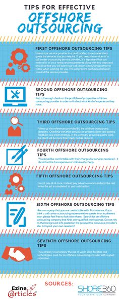 Offshore Outsourcing when managed efficiently, gives good outcome. Here are the tips for effective Offshore Outsourcing. Infographic, Tips, Infographics, Visual Schedules, Counseling