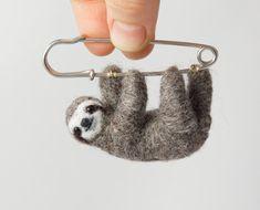 Sloth brooch Felted sloth pin Hanging Sloth Cute by LilenokArt