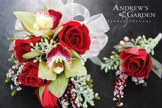 Corsage and Boutonniere Set by Andrew's Garden.