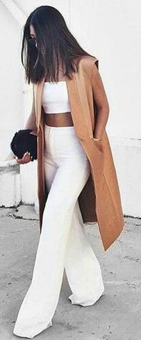 so stylish with crop top and high waisted pants in white, perfect