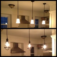 Our island lights before and after. These awesome vintage cage lights add so much character to the home, entirely change the look and give off the perfect dim glow.