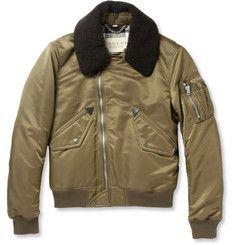 Burberry BritShearling-Collar Bomber Jacket