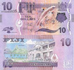 "NEW FIJI (Polymer Banknotes) Value: 10 Dollars ""I Buburau Nibete"" artefact, Beli fish Issued by: Reserve Bank of Fiji Date: ND Printer: De la Rue, London Money Notes, Old Postcards, Coat Of Arms, Stock Market, History, Australia, World, Fiji Culture, Viajes"