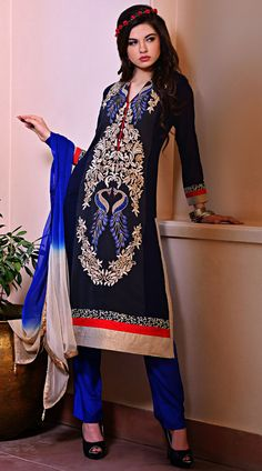 Trendy dark blue faux georgette suit with palazzo pant which is adorned with resham, peacock embroidery work on the front and back side, lace work on the border. Matching bottom and dupatta attached with this outfit.This Salwar Kameez can be stitched in the maximum bust size of 50 inches.