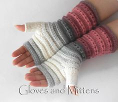 Fingerless gloves Knitted Striped gloves Fingerless Hand Crochet Mittens, Mittens Pattern, Knit Or Crochet, Striped Gloves, Fingerless Gloves Knitted, Arm Warmers, Knitting Patterns, Boot Cuffs, Stitch