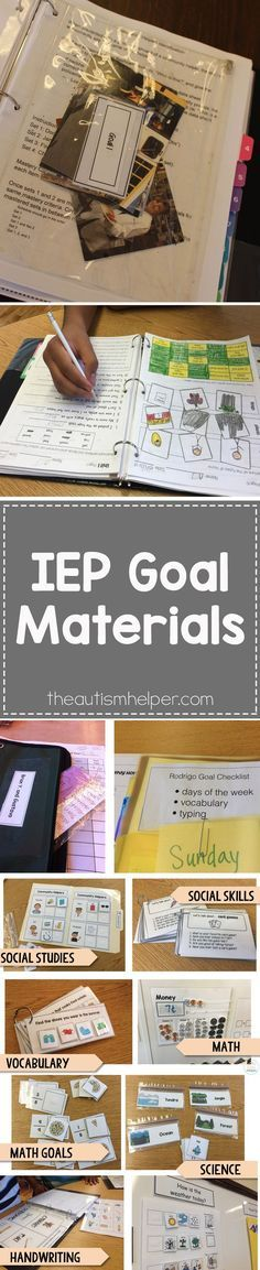 Your beautiful list of IEP goals likely requires a decent amount of materials to target those goals. It can feel like a daunting task now, but once you make materials you will have these resources forever. It will come full circle I promise! From http://theautismhelper.com