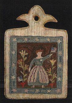 Primitive Folk Art Punchneedle Pattern  LADY by PrimFolkArtShop, $11.00