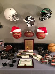 The INVISI-ball HELMET Wall Mount work with Football, Baseball, Hockey/Goalie Masks and Lacrosse helmets.  Shown above are a football, baseball and lacrosse helmet mounted on the wall above the basketballs and football - the INVISI-ball Wall Mount makes a great gift for the sports fanatic!!!