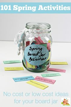101 Low cost activities for Spring Bored Jar - Ultimate spring activities list and bored Jar list. 101 kids activities including screen free and a - List Of Activities, Kids Learning Activities, Summer Activities For Kids, Craft Activities, Family Activities, Toddler Activities, Crafts For Kids, Activity Ideas, Kids Fun