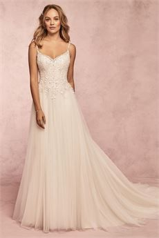 Rebecca Ingram - MAYLA A-Line Tulle Wedding Dress. Geometric-inspired beading evokes a heavenly sunset in this A-line tulle wedding dress—a timeless, romantic, and shimmery choice for your happily-ever-after. Vintage Inspired Wedding Dresses, Western Wedding Dresses, Wedding Dress Trends, Bridal Wedding Dresses, Designer Wedding Dresses, Bridal Style, Vintage Dresses, Sophia's Bridal, Wedding Ideas