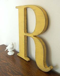 wall letter R wooden letters cottage decor signage Yellow. $32.00, via Etsy.