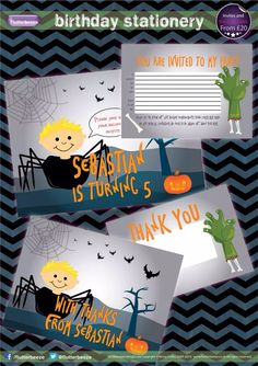 Bespoke boys halloween theme birthday invitations with matching thank you cards ... Pumpkin/spider/zombie/bat ...  Designed to Sebastian's brief including an illustration of him ... © Copyright Kirsty Collier Flutterbeeze 2014   Order yours today www.facebook.com/flutterbeeze