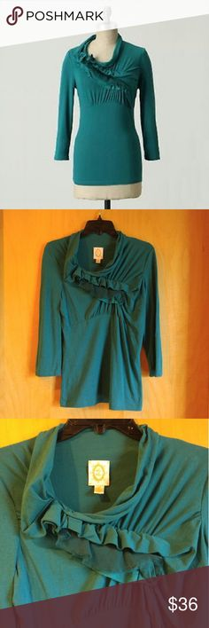 """Anthropologie Ric Rac Green Wind Rippled Tee Ric Rac brand from Anthropologie, size small, in excellent condition! Color is a darker teal green. Features a slight cowl neck and ruffled ruching across chest. Stretchy, lightweight, and 3/4 sleeves. Measurements laid flat are 17.5"""" pit to pit and 25.5"""" shoulder to bottom hem. Please ask any questions. No trades. Make a reasonable offer. Thanks! Anthropologie Tops Blouses"""