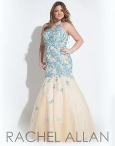 Rachel Allan Plus 7005 Mermaid Dress- Soft tulle plus size mermaid gown with high neckline and intricate floral appliques.