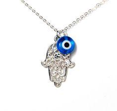 Filigree hand of fatima hamsa evil eye bead silver charm