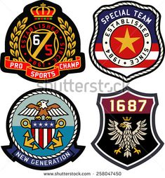 Set of retro vintage badges shielding - stock vector Embroidery Patches, Embroidery Applique, Embroidery Patterns, Learn Embroidery, Badge Design, Logo Design, Vintage Labels, Retro Vintage, Badges