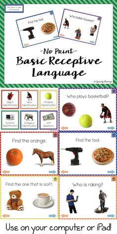 Speechy Musings: No Print Basic Receptive Language Packet-targets nouns, verbs, adjectives, categories, and WH questions. Pinned by SOS Inc. Resources. Follow all our boards at pinterest.com/sostherapy/ for therapy resources.