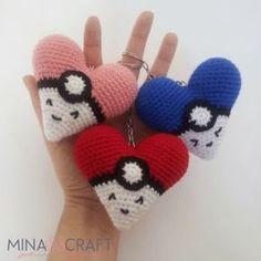 Ravelry: Pokeheart Amigurumi pattern by Yazmina Nieblas Pokemon Crochet Pattern, Crochet Patterns Amigurumi, Crochet Toys, Crochet Animals, Gato Crochet, Love Crochet, Crochet Keychain, Holiday Crochet, Knitted Dolls