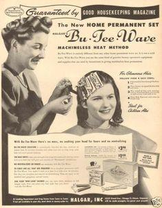 1940s Vintage BU Tee Wave Permanent Perm Beauty Shop Hair Stylist Curl Curler Ad | eBay