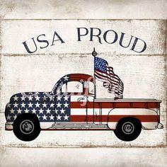 USA Proud Patriotic Truck Sign - Wreath Enhancement Patriotic Crafts, Patriotic Decorations, Vintage Trucks, Old Trucks, Patriotic Pictures, Truck Signs, I Love America, Truck Art, Christmas Truck