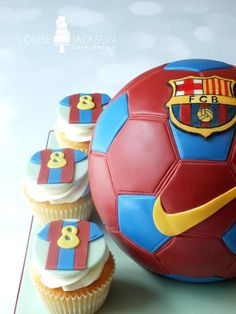 Barcelona Football Cake - cake by Louise Jackson Cake Design Bolo Do Barcelona, Barcelona Party, Barcelona Soccer, Soccer Birthday Parties, Soccer Party, Messi Birthday, Birthday Cakes, Soccer Ball Cake, Soccer Cakes