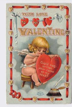 ANTIQUE VINTAGE VALENTINE'S DAY POSTCARD HEARTS CUPID ANGEL WRITING WITH FEATHER My Funny Valentine, Valentine Cupid, Valentine Images, Vintage Valentine Cards, Vintage Cards, Vintage Postcards, Happy Valentines Day, Vintage Images, Valintines Day