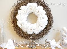 Coffee Filter Ornament Wreath - Super easy ....and cheap :).... wreath made from coffee filters and ornaments! Perfect to tie in all the white christmassy decor…