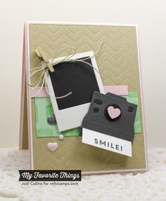 card camera MFT cute cameras MFT die-namics - MFT More cute little Polaroid frames! Stamping A Latte: Smile Paper Camera, Camera Cards, Diy Craft Projects, Diy And Crafts, Paper Crafts, Birthday Gift For Him, Birthday Cards, Birthday Card Drawing, Polaroid Frame