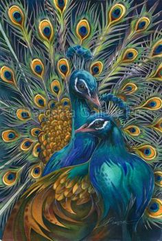 Blue Rhapsody peacocks art painting - Jody Bergsma