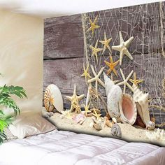 Home Wall Hanging Beach Style Wood Tapestry - Light Coffee Inch * Inch Washable Beach Style Cheap Wall Tapestries, Tapestry Wall Hanging, Tapestry Online, Beach Cottage Style, Beach Cottages, Cool Walls, Beach Themes, Starfish, 3d Printing