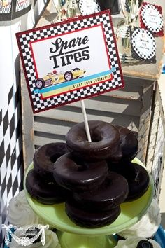 "Candy bar for racing party | Race Car Party idea using chocolate donuts as ""Spare Tires"" - the kids ..."