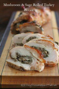 Low Carb Mushroom Sage Rolled Turkey Breast