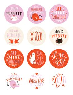 free printable Valentine's Day stickers by Emma Trithart.